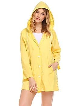 SoTeer Womens Lightweight Raincoat Hooded Waterproof Active Outdoor Rain Jacket Yellow-M