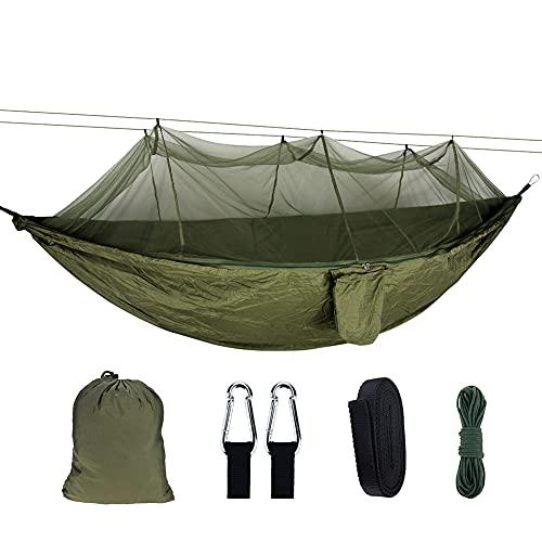 Zokrintz Hamaca de camping individual y doble con mosquitero, hamaca de nailon con hamaca para acampar, mochileros, viajes, senderismo