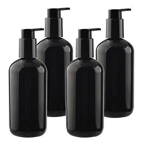 TIANZD 4 Stück Seifenspender Schwarz 300ml Kunststoff Flasche mit Lock UP Pumpe Spender Leere Gelspender Plastikflaschen zum Befüllen für Shampoo Cremigen Substanzen mit Trichter Nachfüllbar