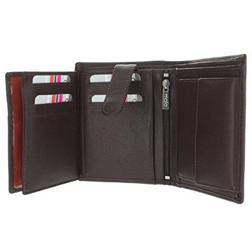 Mala leder - RFID-kwaliteit echt lederen heren notitiehoesje portemonnee, drievoudig, fotolijst (bruin)