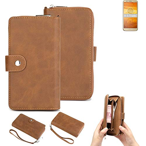 K-S-Trade® Handy-Schutz-Hülle Für -Motorola Moto E5 Play Android Oreo (Go Edition)- Portemonnee Tasche Wallet-Case Bookstyle-Etui Braun (1x)