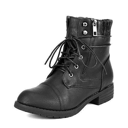 DREAM PAIRS Women's Peakk Black Lace Up Ankle Bootie Size 8 B(M) US