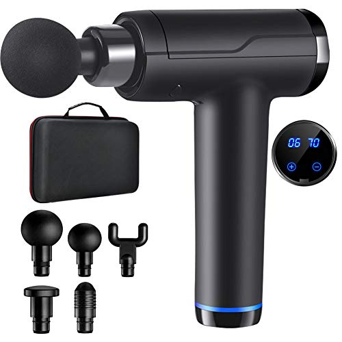 Massagepistole, Handgehalten Muscle Massage Gun 20-Gang-Percussion-Massagegerät mit LCD-Touchscreen Cordless Tiefengewebe mit 6 Massageköpfen
