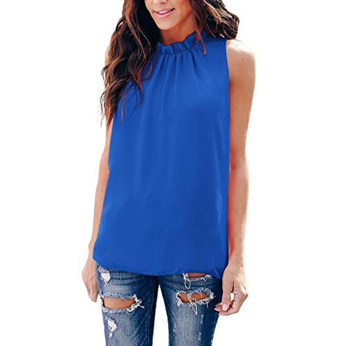 Janly - Chaleco informal para mujer, color azul (XL)