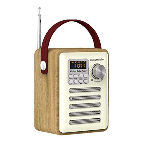 Retro Radio Digital FM Receptor Altavoz Bluetooth con antena, Radio Portátil/Reloj Despertador Soporte Tarjeta TF / Disco U, Acabado Efecto Madera Recargable USB