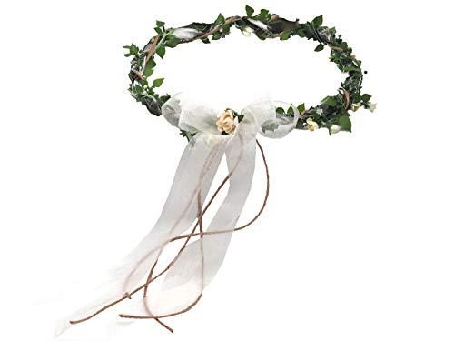 ZauberDeko Haarschmuck Haarkranz Creme Vintage Kopfschmuck Hochzeit Blumenkind Kommunion
