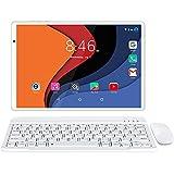LNMBBS Tablet 10 Zoll 4G LTE + 5G WiFi, Android 10.0 mit Tastatur, 1920*1200 FHD, 13MP+5MP Kamera, Octa-core Prozessor, 64GB ROM + 4GB RAM, Face Unlock/GPS/Bluetooth 5.0/mit Sim Karte/Hülle - Silver