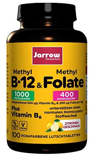 Methyl-B12 & MethylFolate + Vitamin B6, veganes Vitamin B-Trio, Tagesdosis Vitamin B12 500 µg, 100 Lutschtabletten mit Zitronengeschmack, Jarrow Deutschland