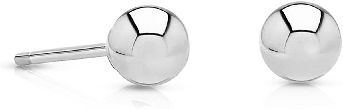 14k White Gold Small Round Ball Stud Earrings with Pushback, 4mm