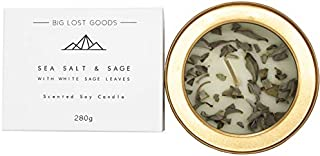 BIG LOST GOODS Smudge Candle: Sea Salt & Sage Scented with Real White Sage Leaves & 100% Natural Soy Wax (10 Oz Tin). Use ...