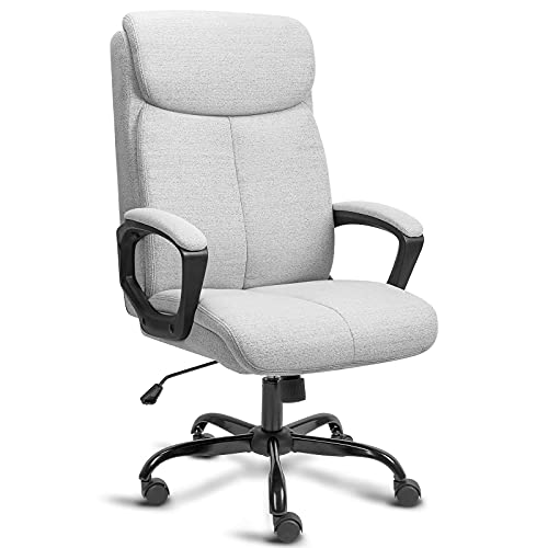 BASETBL Executive Office Chair, Ergonomic Computer Desk Chair, Padded Comfy Gaming Chair, Breathable Manager Work PC Chair, Max Capacity 308lbs【Grey Fabric】
