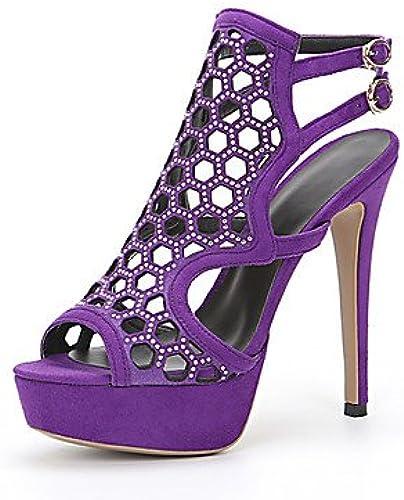 YFF Sandales femmes Talon Stiletto Similicuir Rhinestone Buckle, violet, US9