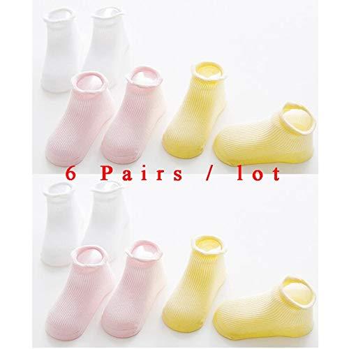 6 par/Lote 0 a 6 años Calcetines de Barco Antideslizantes de algodón para niños y niñas Calcetines de Chico de Piso de Corte bajo con empuñaduras de Goma Cuatro Estaciones-a35-0 to 12 M