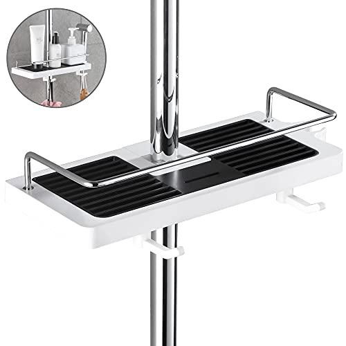 DUFU-Ohne Bohren Duschablage für die Duschstange -Duschregal, Organizer mit 2 Haken Für Duschstange mit Durchmesser von 22mm - 25mm