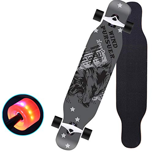 Wolf Totem Longboard Skateboards fallen durch komplette Ahorn Freestyle Cruiser 43 Zoll Durable Camber Concave Dancing Longboard für Jugendliche, Anfänger # 2