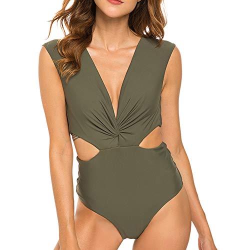 Dixperfect Women's Twists Front Cutout One Piece Swimsuit Deep Plunge Monokini Bathing Suit (S, Olive)