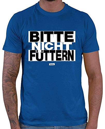 HARIZ Herren T-Shirt Bitte Nicht Füttern Sprüche Schwarz Weiß Inkl. Geschenk Karte Royal Blau M
