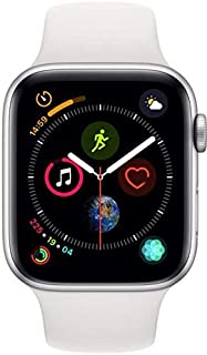 Apple Watch Series 4-44mm Silver Stainless Steel Case with White Sport Band, GPS + Cellular, watchOS 5