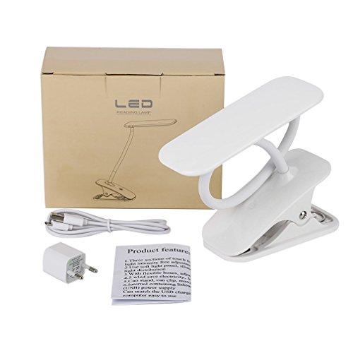 HehiFRlark ICOCO Portátil Ajustable Cuello 21 LED 4,2 W con interruptor táctil de lámpara de lectura con clip