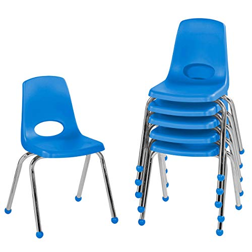"FDP - 10367-BL 16"" School Stack Chair,áStacking Student Chairs with Chromed Steel Legs and Ball Glides - Blue (6-Pack)"