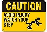 注意怪我をしないでくださいあなたのステップを見てください金属錫サイン産業標識安全標識道路標識