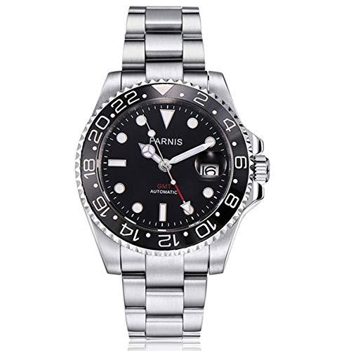 CursOnline® Elegante reloj de pulsera automático para hombre de acero Parnis PN840...