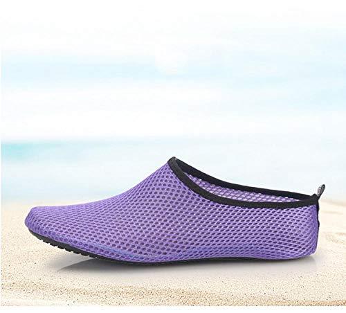 Tingxx Hombres Y Mujeres Zapatos Suaves Descalzos Calcetines De Playa Zapatos De Snorkel Zapatos De Buceo En La Playa Zapatos Antideslizantes para Caminadora Purple_Mesh_44 45