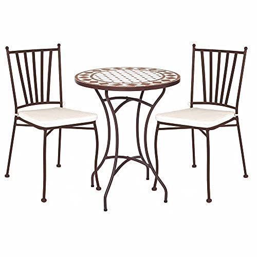 Conjunto de Mesa y 2 sillas de jardín apilables Helene con Mosaico marrón y Beige de Hierro y cerámica - LOLAhome