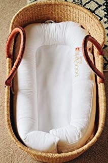 Moses basket, African Moses basket with brown leather handle, Baby bassinet