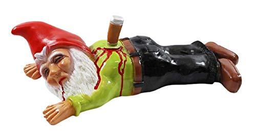 Gartenzwerg Deko Garten Figur Zwerg erstochen mit Messer im Rücken liegend aus Kunststoff Länge 41 cm