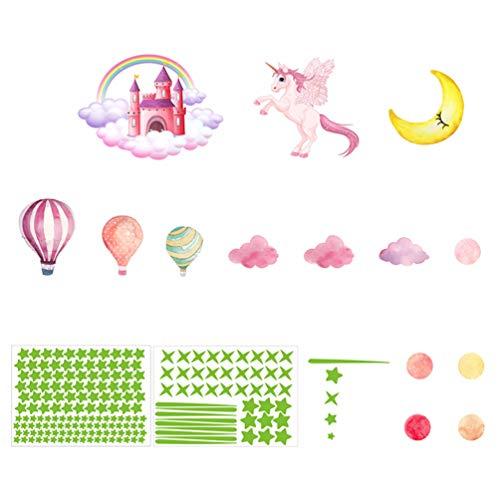 SOIMISS 1 Juego Castillo Unicornio Estrella Meteorito Pegatinas de Pared Vinilo de Dibujos Animados Que Brilla en La Oscuridad Mural de Pared para Habitación de Niños Decoración de Jardín