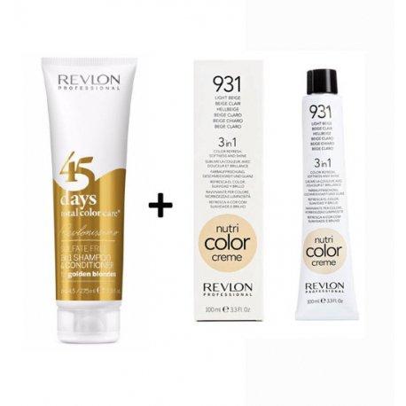 Coffret 45Days Revlon Golden Blondes y Nutricolor 931Beige Claro
