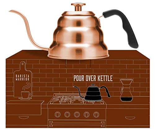 Copper Kettle with Thermometer for Exact Temperature - Copper Coated...