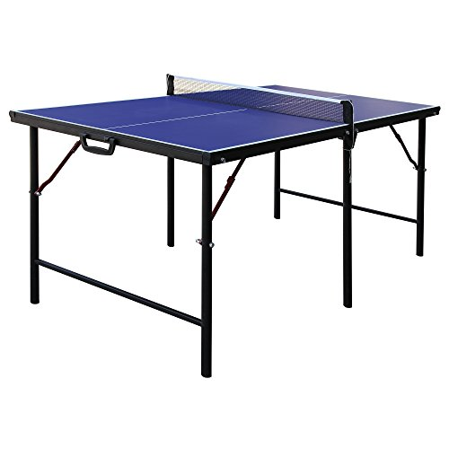 Hathaway BG2305 Crossover 60-in Folding Portable Table Tennis Table – Perfect Small Space Solution, Blue, 60'