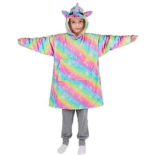 Beinou Einhorn Decke Hoodie Sweatshirt Kinder Kuscheldecke Hoody Kapuzenpullover Schlafanzüge Pullover Fleece Sherpa Plüschpyjamas Bademantel mit großer Tasche Geschenke für Mädchen