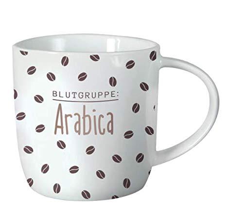 Grafik-Werkstatt 61424 Kaffeetasse mit Spruch 300 ml | Porzellan Tasse lustig |Blutgruppe Arabica