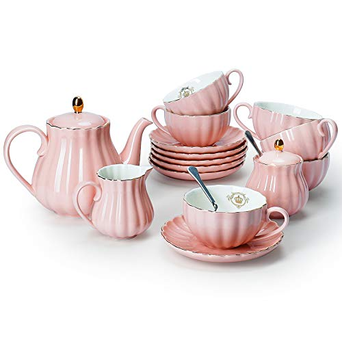 Amazingware Porcelain Tea Set - Tea Cup and Saucer Set Service for 6, with 28 oz Teapot Sugar Bowl Cream Pitcher Teaspoons and Tea Strainer - for Thanksgiving - Pumpkin Fluted Shape, Pink