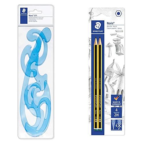 Staedtler 571 40 Wp St Curvilinee Burmester, Tre Forme In Plastica Per Disegnare Curve Di Raggio Variabile, 571 40 Wp & Bk2D Matite 2H, 2 Pezzi