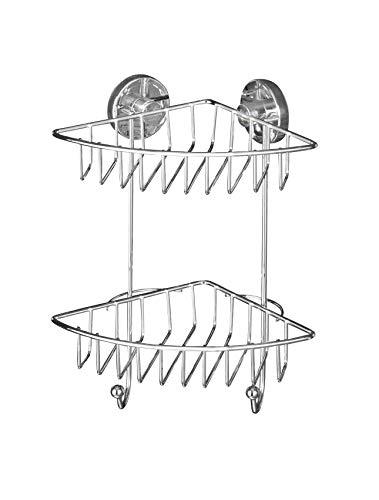 WENKO Vacuum-Loc® Eckregal Bari 2 Etagen - Befestigen ohne bohren, Stahl, 22.5 x 29.5 x 16 cm, Chrom