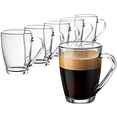 Bormioli Rocco Glass Coffee Mug Set - (6 Pack) 10 ¾ Ounce with Convenient Handle, Tea Glasses for Hot and Cold Beverages, Thermal Shock Resistant, Tempered Glass, Mugs for Cappuccino, Latte, Espresso.