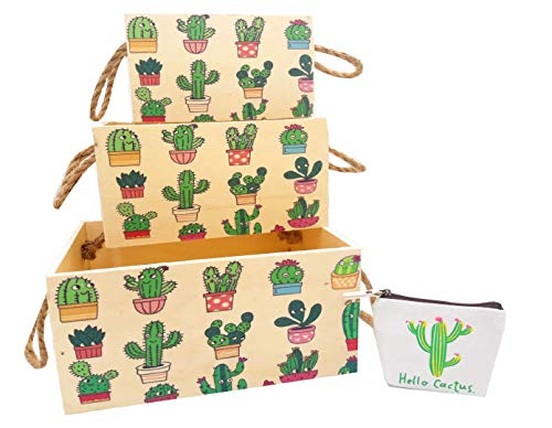 Cajas Madera Almacenaje (Set de 3) - Cajon Madera con Asa de Cuerda de Yute - Cajas de Paletas Abiertas para Organizar – Cofre para Almacenamiento + Monedero cactus