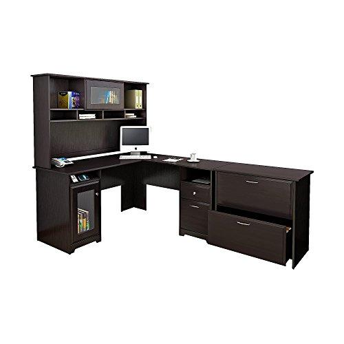 Bush Furniture Cabot L Shaped Desk with Hutch and Lateral File Cabinet in Espresso Oak