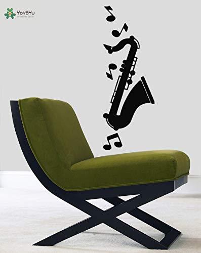 wall art stickers voor slaapkamer prinses, muurtattoo vinyl art verwijderbare sticker sticker muurschildering jazz muzieknoten saxofoon muziek muur d42x117cm
