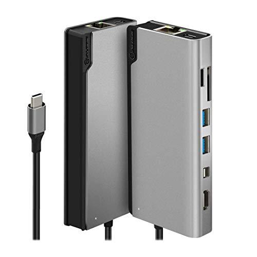ALOGIC USB-C 8-in-1-Dock, unterstützt 4K HDMI, 4K Mini DP, 2 x USB-A (USB 3.0), USB-C mit Daten- und 100WPD-, Gigabit-Ethernet- und Micro / SD-Kartensteckplatz für MacBook Pro, iPad Pro