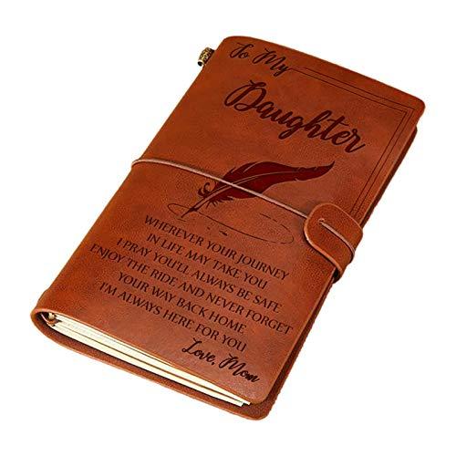 JHD Taccuino di diario Artigianale Elegante avanzato Taccuino di diario in Pelle con Incisione Taccuino di Messaggio a mia Figlia Figlio Man Moglie Scrittura a Mano Pocketbook