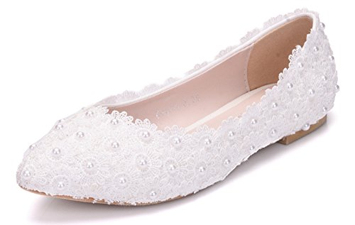 Melesh White Lace Flower Pearls Bride Flat Shoes for Wedding (8 B(M) US - EU39)