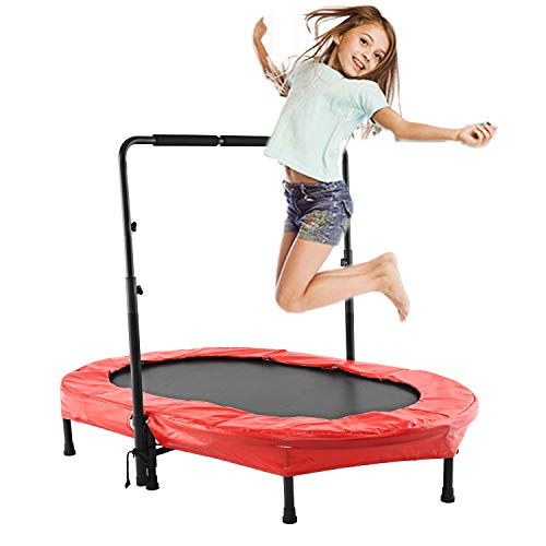 Eloklem Trampoline, Mini Foldable Trampoline 143 x 91cm Jumping Fitness for Children and Adults, Adjustable Handle, Indoor/Outdoor Trampoline, Maximum Weight: 100 KG (143 x 91cm, Red)