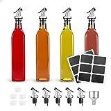 Glotoch Olive Oil Dispenser Bottle,4 Pack Oil and Vinegar Cruet Glass Bottles with Dispensers 17oz Oil and Vinegar Dispenser Set (Clear)