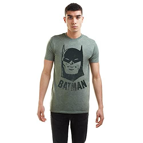 dc comics Batman Vintage T-Shirt, Vert (Heather Military Hml), M Homme