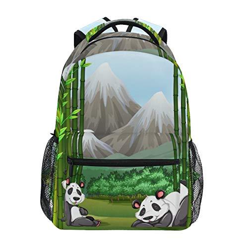 Mochilas College School Bag Pandas Bosque de bambú bolsas para niños adolescentes hombro casual viaje mochila